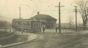 Trolley at the Y in front of F.A. Boyer's store.